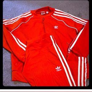 Red adidas three stripe set
